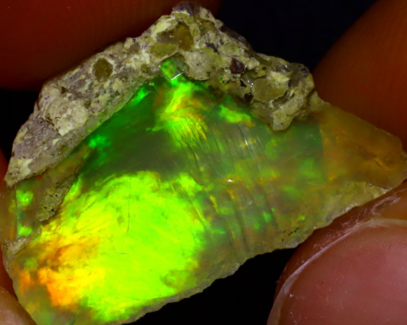 8.44Ct Multi Color Play Ethiopian Welo Opal Rough JF2002/R2