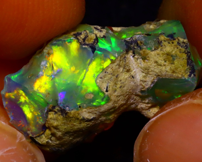 7.37Ct Multi Color Play Ethiopian Welo Opal Rough JF2007/R2