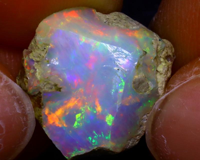 10.05Ct Multi Color Play Ethiopian Welo Opal Rough JR133/S580