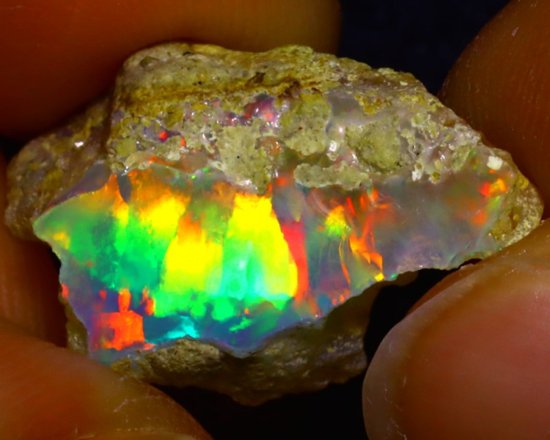 9.04Ct Multi Color Play Ethiopian Welo Opal Rough JF2613/R2