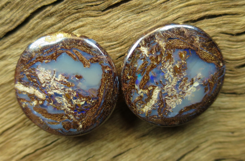 32cts, WOOD OPAL~FOSSIL PAIR.