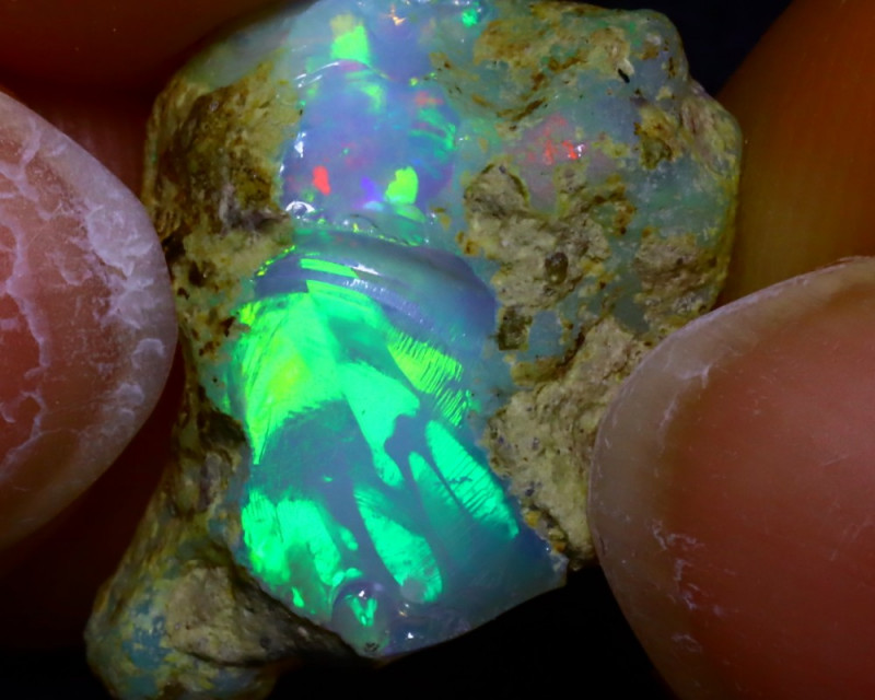 9.85Ct Multi Color Play Ethiopian Welo Opal Rough JF2808/R2