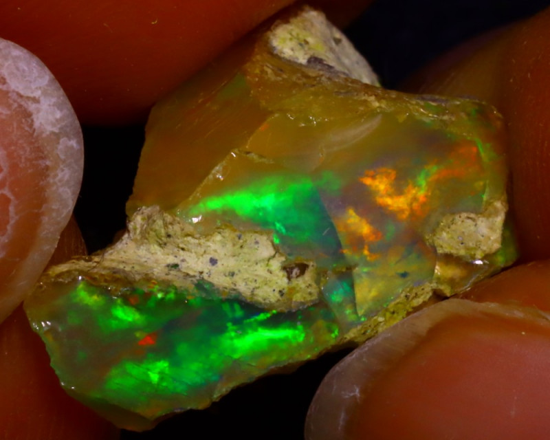 8.27Ct Multi Color Play Ethiopian Welo Opal Rough J2921/R2