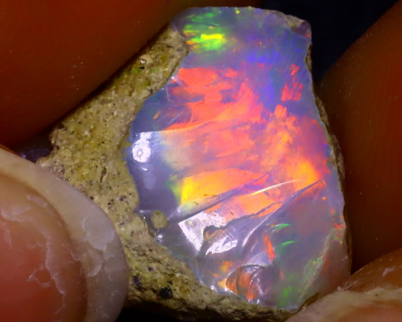 7.68Ct Multi Color Play Ethiopian Welo Opal Rough JF0114/R2