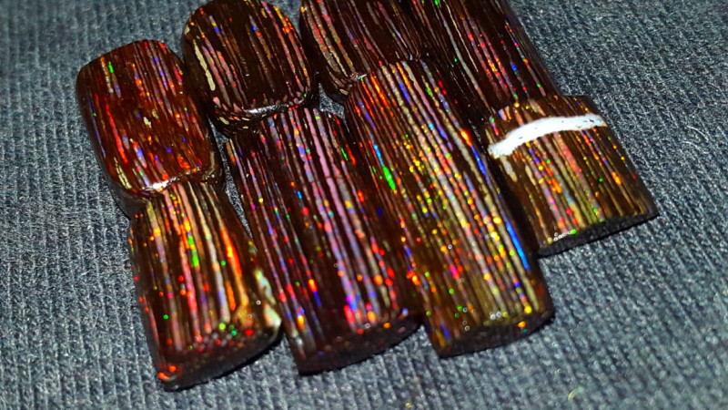 24.00 CRT RARE! 8 PCS LASSE PIN FIRE PLAY COLOR INDONESIAN OPAL WOOD FOSSIL