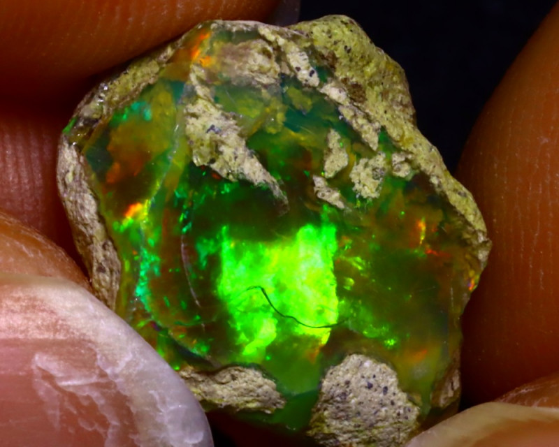 8.74Ct Multi Color Play Ethiopian Welo Opal Rough JF0512/R2