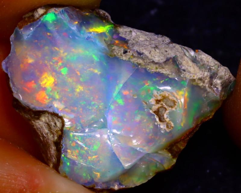 9.06Ct Multi Color Play Ethiopian Welo Opal Rough J0726/R2