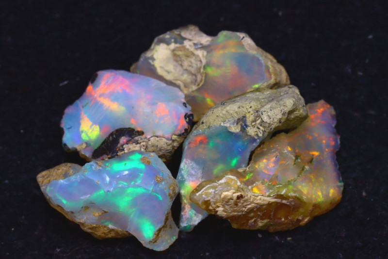 34.20Ct Multi Color Play Ethiopian Welo Opal Rough JN178/R2