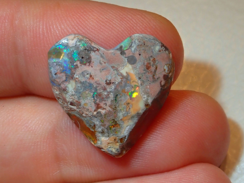 Heart Shaped Opal Mexican Cantera With Play of Colour