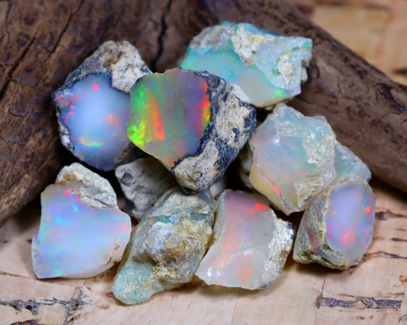 Welo Rough 26.69Ct Natural Ethiopian Play Of Color Rough Opal F0905