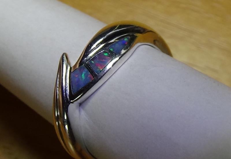 Australian Opal Women's Sz 6.5  Crystal inlay silver Ring  *