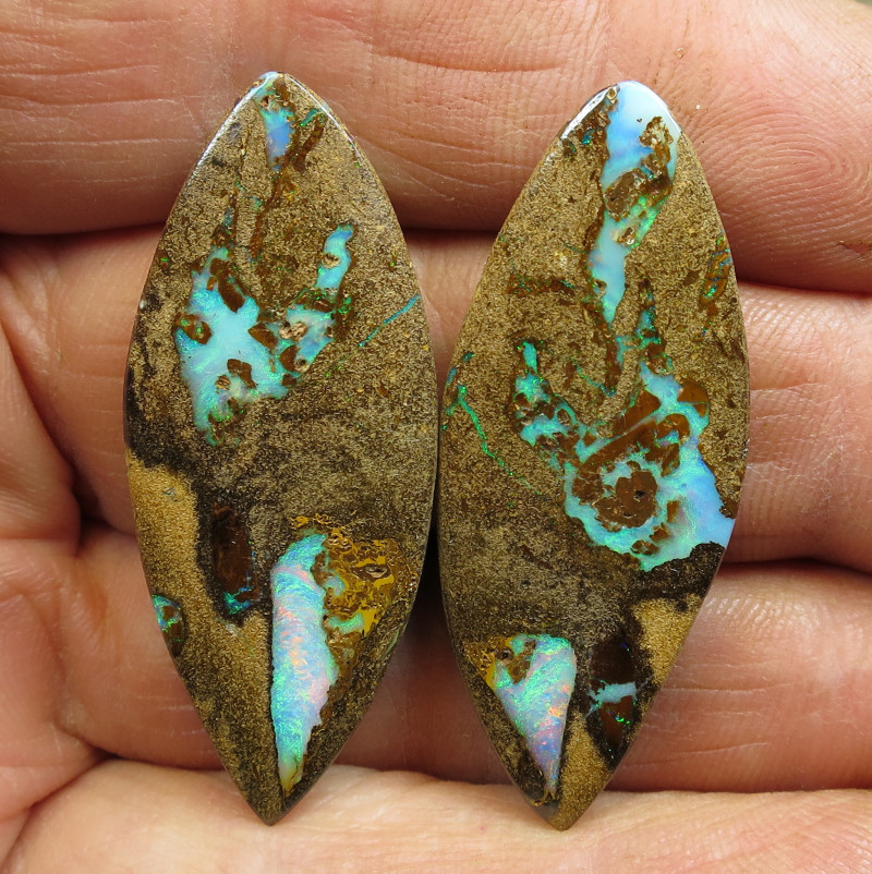 74cts, BOULDER PIPE OPAL~AMAZING PAIR.