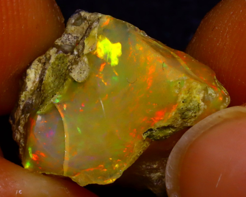 11.58Ct Multi Color Play Ethiopian Welo Opal Rough J1525/R2