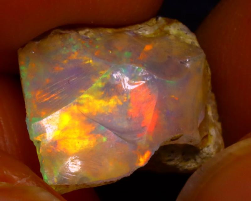 5.57Ct Multi Color Play Ethiopian Welo Opal Rough J1527/R2