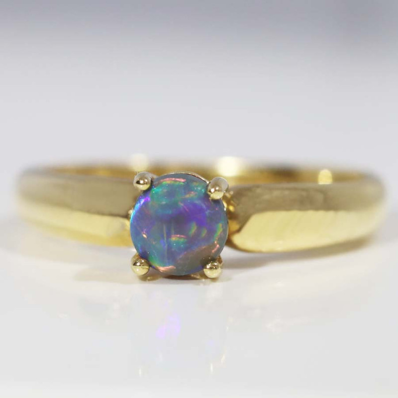 18K GOLD BLACK OPAL RING GOLD AND DIAMONDS [CR101]