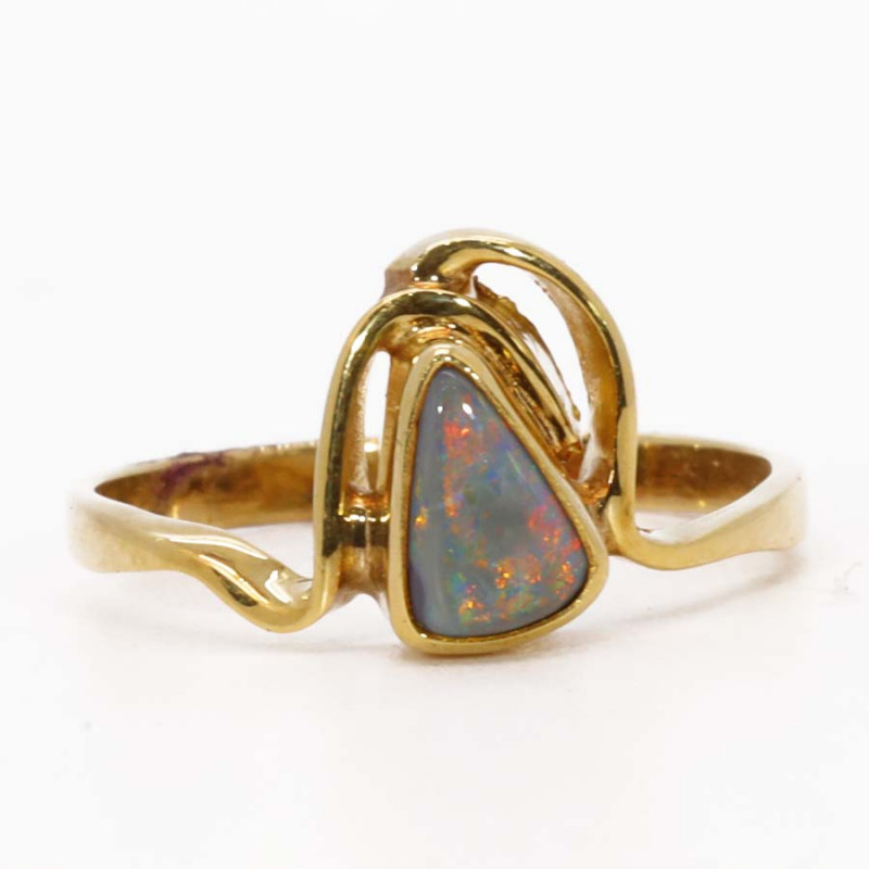 18K GOLD BLACK OPAL RING  [CR10]