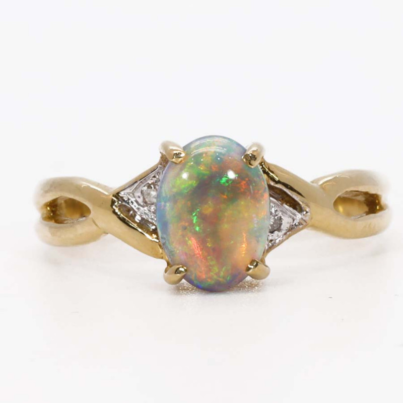 18K GOLD BLACK CRYSTAL OPAL RING GOLD AND DIAMONDS [CR12]