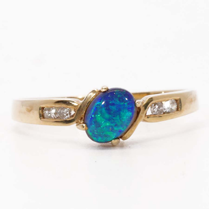 18K GOLD BLACK OPAL RING GOLD AND DIAMONDS [CR13]