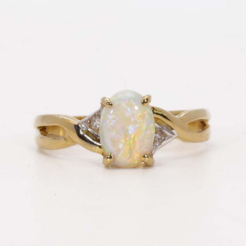 18K GOLD SEMI BLACK OPAL RING GOLD AND DIAMONDS [CR16]