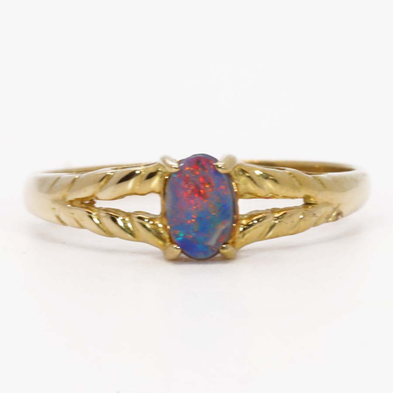 18K GOLD BLACK OPAL RING  [CR19]