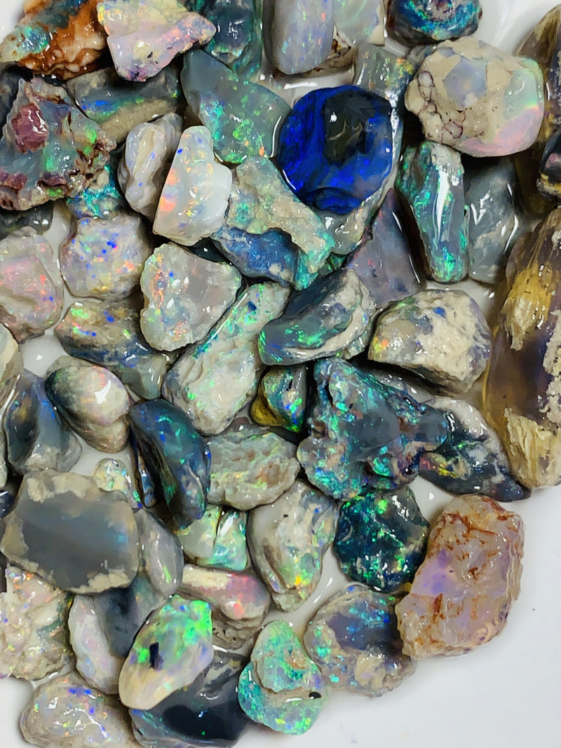 STUNNING NOBBY ROUGH OPALS- FULL OF COLOURS, NICE CUTTERS #1098