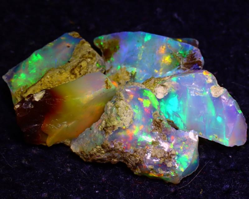 21.30Ct Multi Color Play Ethiopian Welo Opal Rough J1605/R2