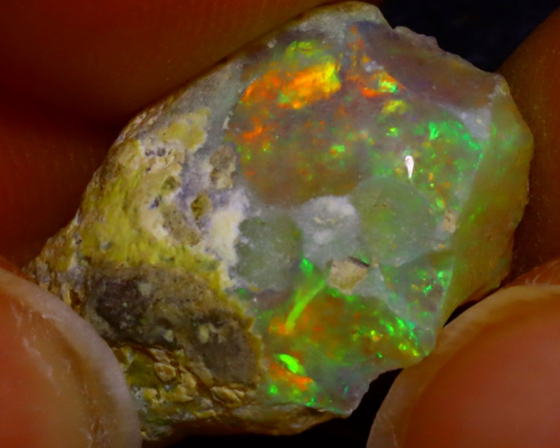 7.62Ct Multi Color Play Ethiopian Welo Opal Rough J1614/R2
