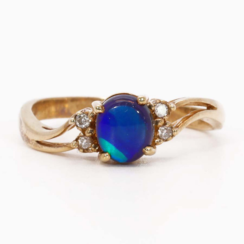 18K GOLD BLACK OPAL RING GOLD AND DIAMONDS [FR22]