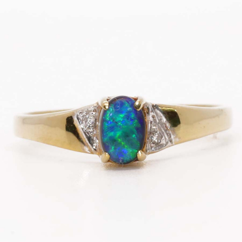 18K GOLD BLACK OPAL RING GOLD AND DIAMONDS [FR24]