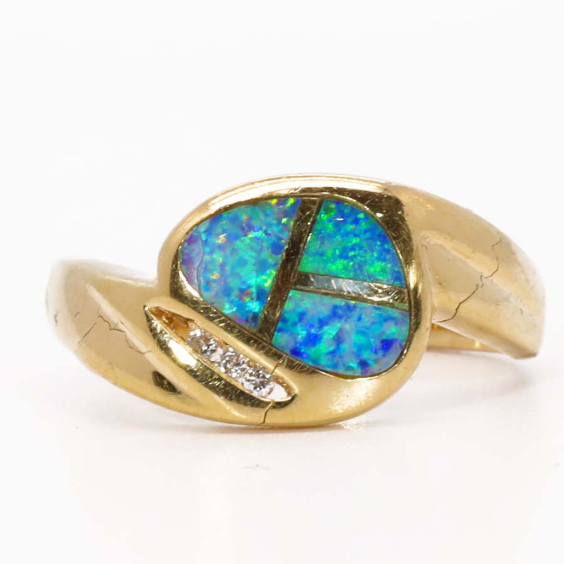18K GOLD BLACK OPAL RING GOLD AND DIAMONDS [FR25]