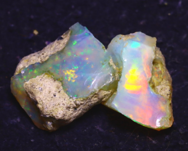 13.70Ct Multi Color Play Ethiopian Welo Opal Rough J2214/R2
