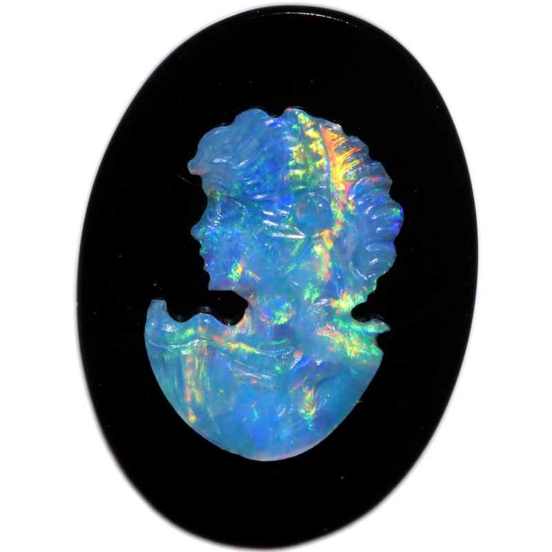 4.27 CTS CAMEO CARVING WITH OPAL -HAND CARVED [SEDA7442]
