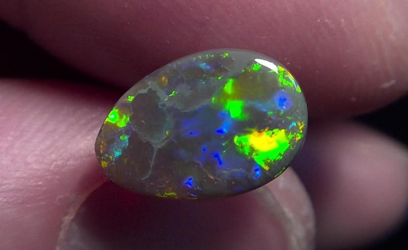 1.55ct Lighting Ridge Solid Gem Dark Opal Muitiple Gem colors
