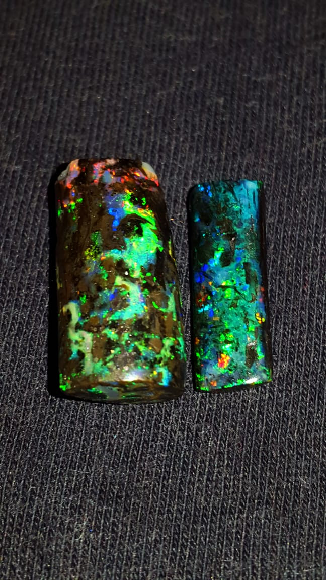 10.50 CRT 2 PCS  AMAZING PLAY COLOR INDONESIAN OPAL WOOD FOSSIL