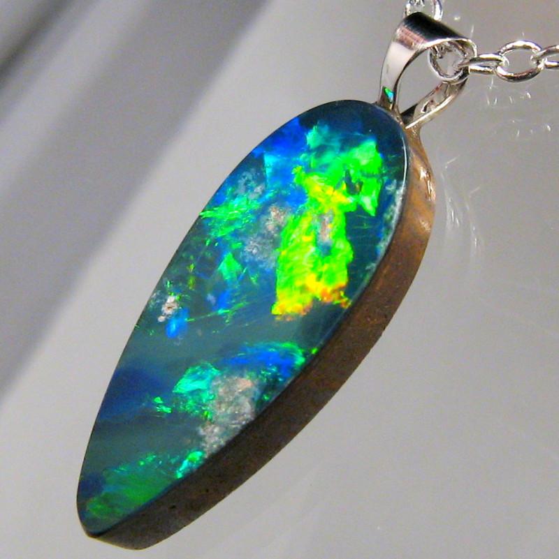 Australian Opal Pendant Solid Sterling Silver 4.15ct Doublet