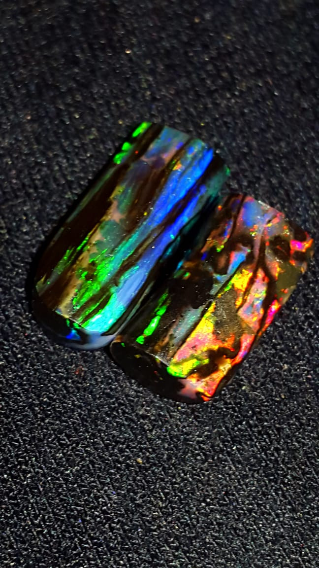 6.00 CRT 2PCSRARE STUNING COLOR SPECIMENT INDONESIAN OPAL WOOD FOSSIL