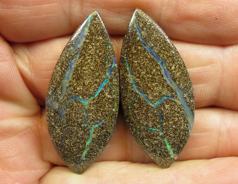 72cts, BOULDER OPAL~NATURAL SOLID PAIR.
