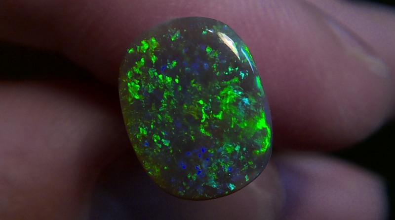 1.96ct Lighting Ridge Solid Gem Black Opal Muitiple Gem colors