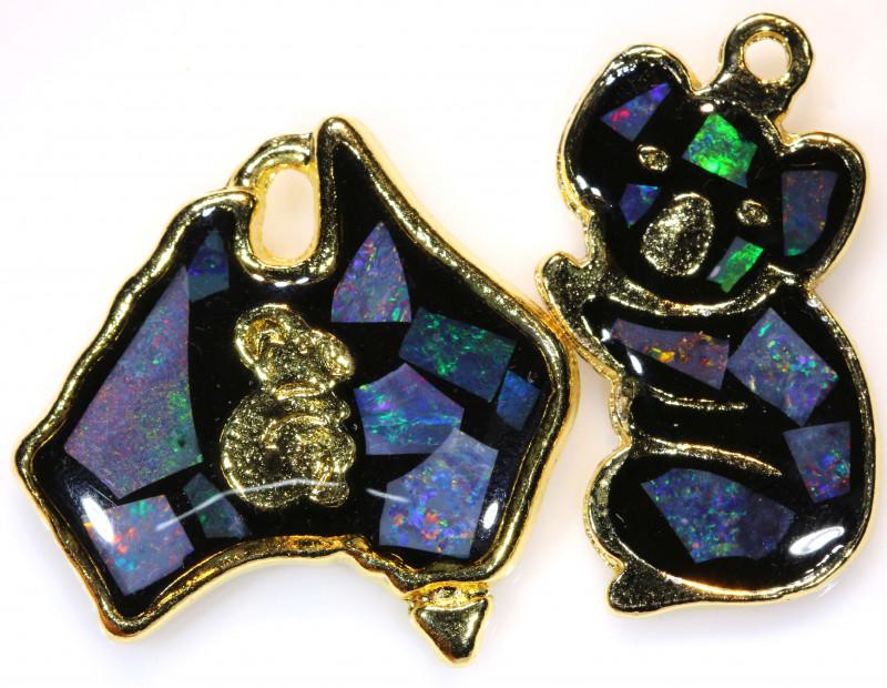 **Australian Made**Coober Pedy  Opal Gold Plated Pendant J-1