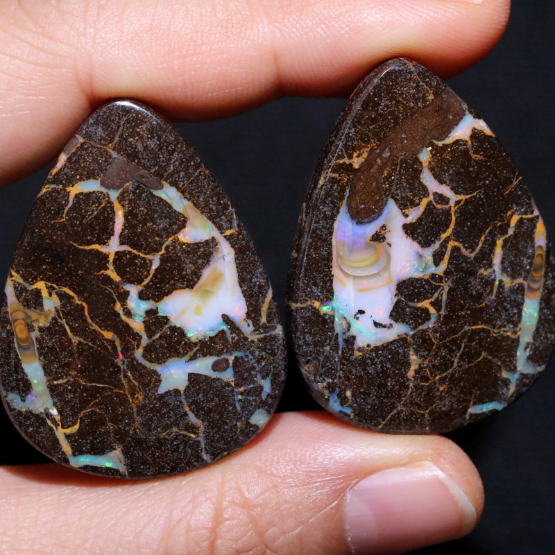 92.25 CTS BOULDER PAIR-WELL POLISHED  [FJP3772]