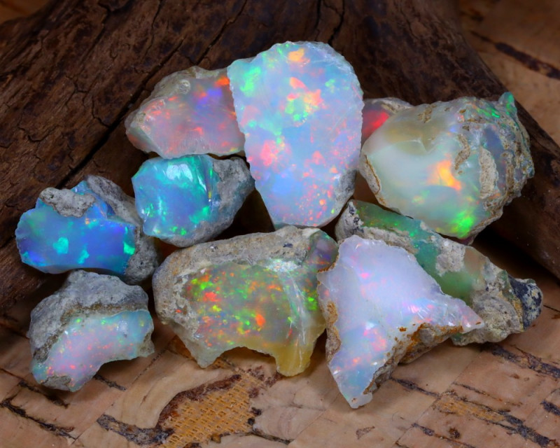 Welo Rough 41.19Ct Natural Ethiopian Play Of Color Rough Opal E1006