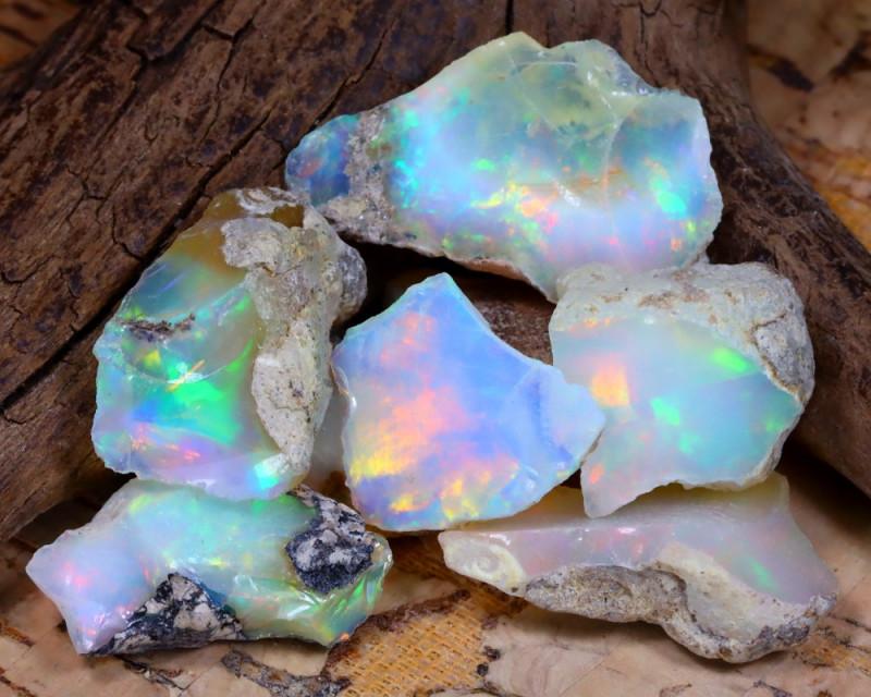 Welo Rough 35.33Ct Natural Ethiopian Play Of Color Rough Opal E1011