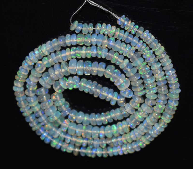 28.95 Ct Natural Ethiopian Welo Opal Beads Play Of Color OB1142