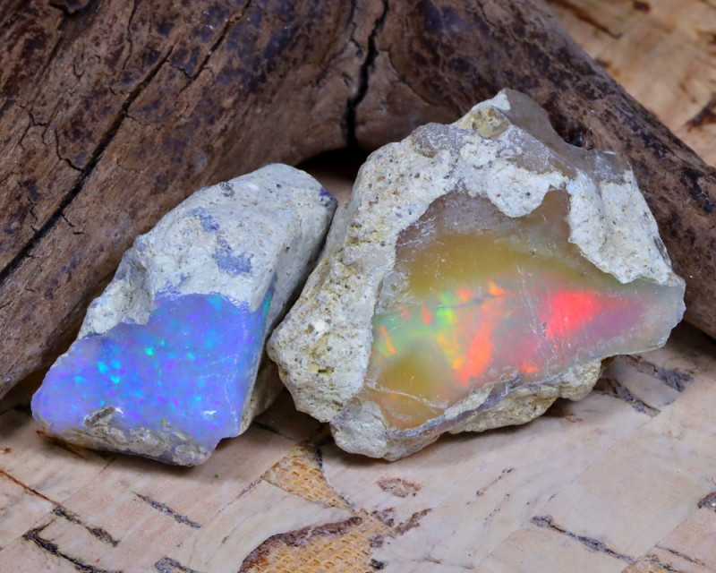 Welo Rough 30.62Ct Natural Ethiopian Play Of Color Rough Opal F1311