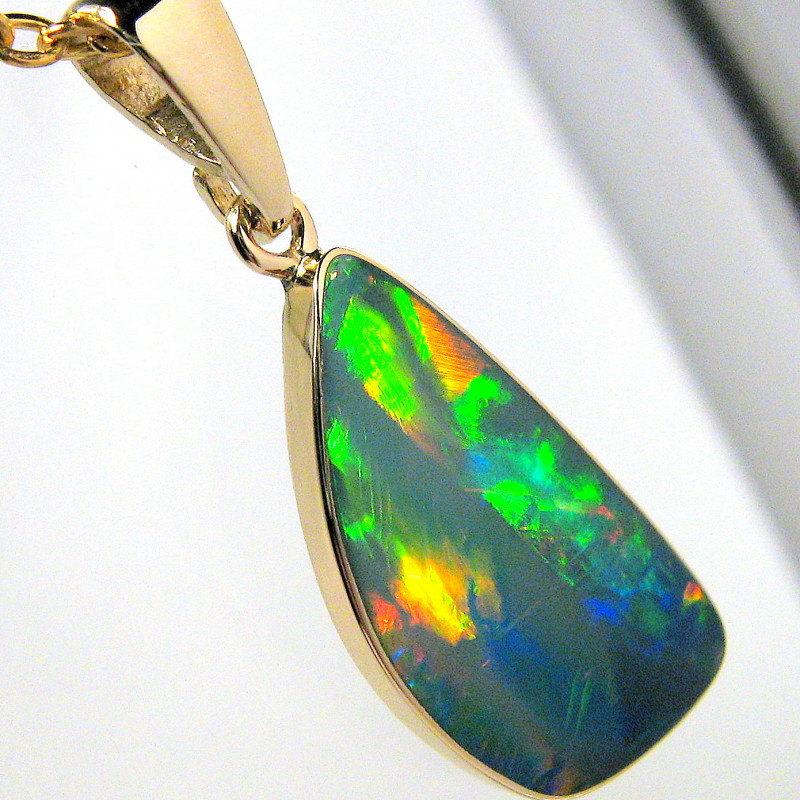 Australian Opal Pendant 5.45ct 14k Gold Inlaid Doublet #D24