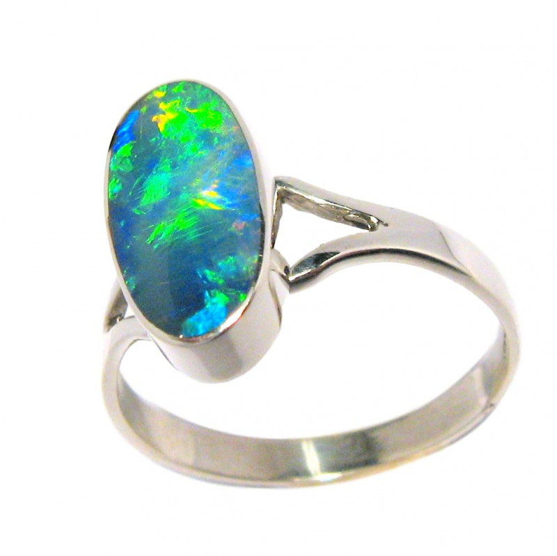 Green Gem Opal Inlay Silver Ring Free Re-Size 7 Gift Jewelry #D20