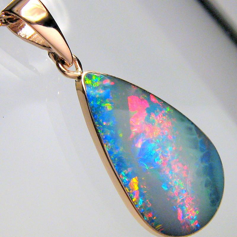 Australian Opal Pendant 6.3ct 14k Rose Gold Inlaid Doublet D23