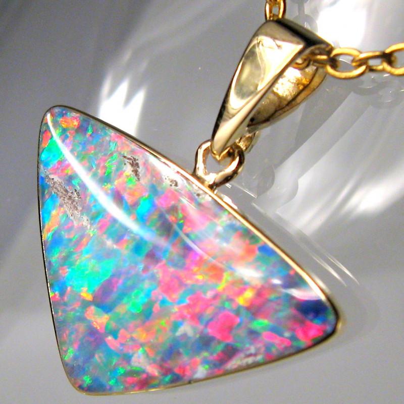 Australian Opal Pendant 5.65ct 14k Gold Gem Inlaid Doublet #D27