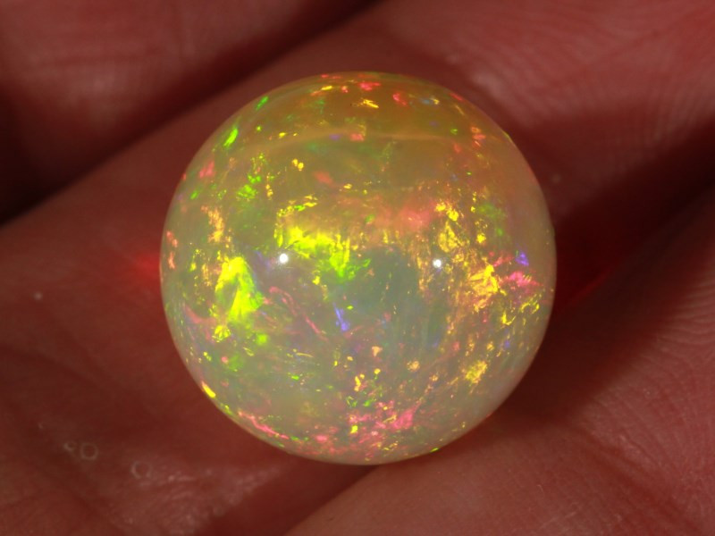 14.44CT~STUNNING ETHIOPIAN WELO OPAL SPHERE~INSANE FULL SATURATION OF FIRE!
