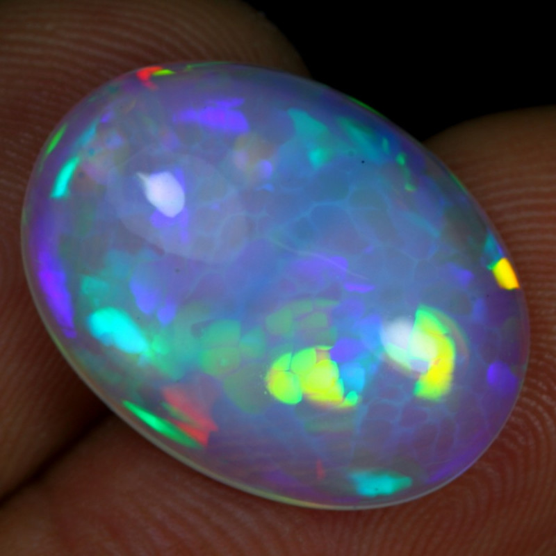 9.75cts Rainbow Floral Honeycomb Pattern Natural Ethiopian Welo Opal